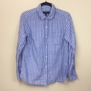 Banana Republic Linen Stripped Button Down